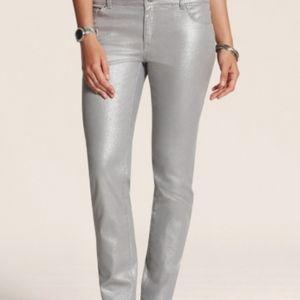 Chico's Platinum denim silver metallic jeans